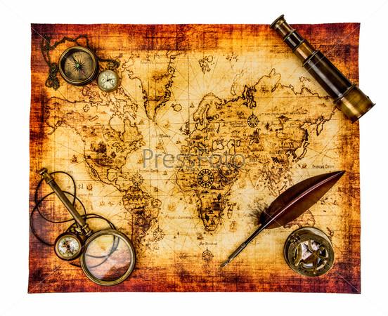 Фотография на тему Винтажный натюрморт. Карта древнего мира, изолированная на белом фоне