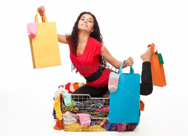 Фотография на тему Девушка после шоппинга