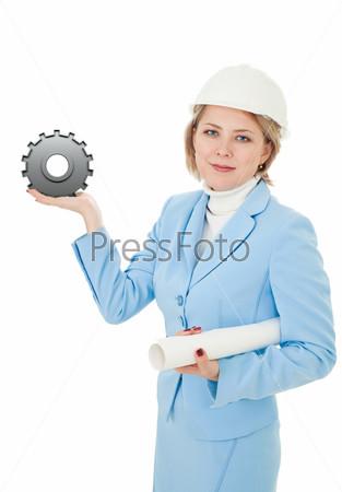 Инженер с деталью