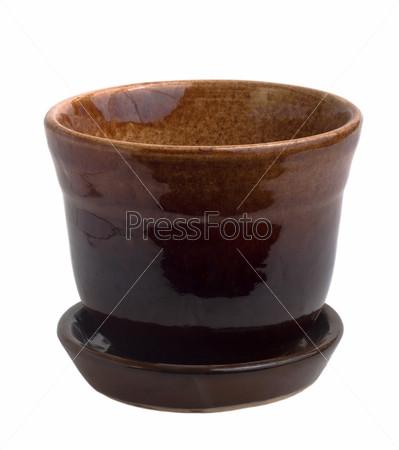 Цветочный коричневый горшок из керамики, изолировано