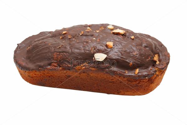 Фотография на тему Шоколадно-ореховый кекс, изолированный с путем отсечения