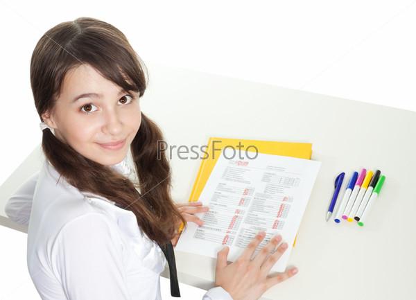 Фотография на тему Счастливая девушка-подросток сдала экзамен