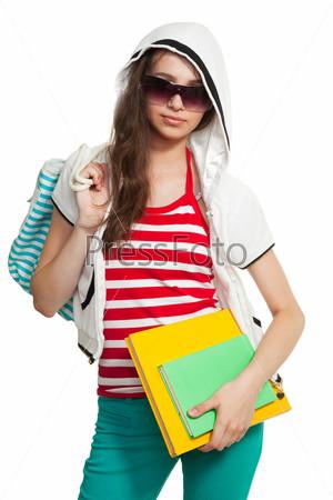 Фотография на тему Стильная девушка с книгами