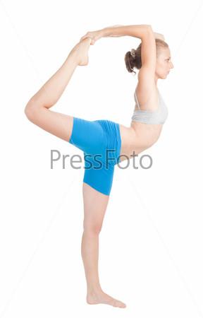 Фотография на тему Женщина делает упражнение на гибкость