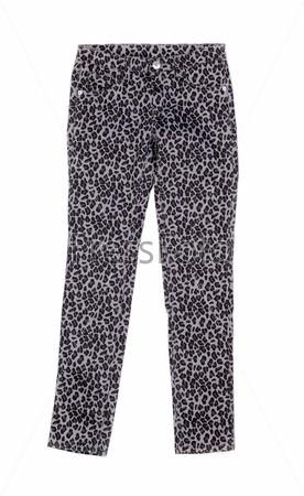 Серые брюки с леопардовым принтом