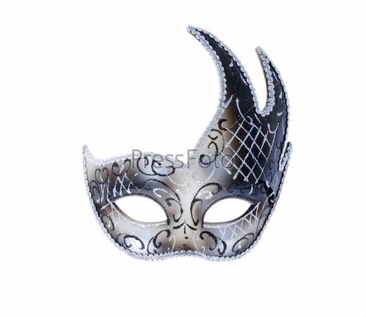 Изолированная серебряная венецианская театральная маска