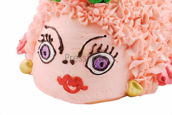 Фотография на тему Необычный торт в форме рыбы на белом фоне