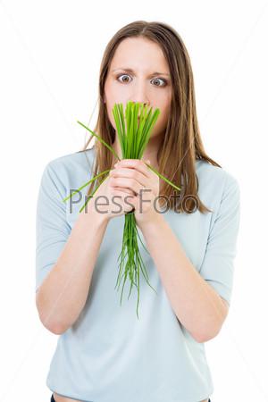 Женщина с зеленым луком