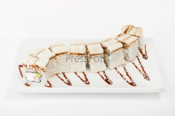Фотография на тему Роллы с угрем и креветкой