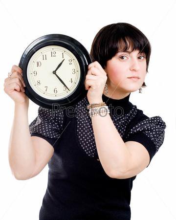 Фотография на тему Европейская женщина, держащая настенные часы, изолированная на белом фоне