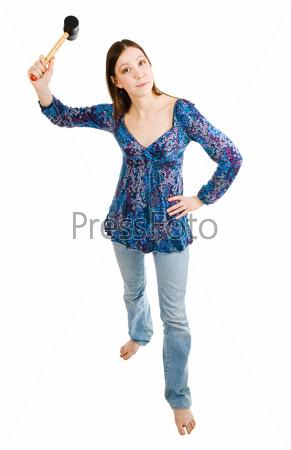 Фотография на тему Агрессивная женщина держит молоток в руке