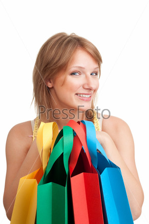 Фотография на тему Женщина с цветными пакетами