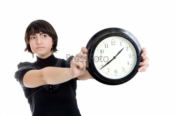 Фотография на тему Женщина, держащая настенные часы