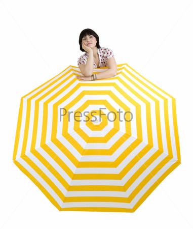 Фотография на тему Женщина с огромным зонтом