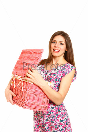 Фотография на тему Молодая женщина с корзиной для белья на белом фоне