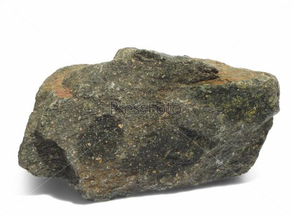 Фотография на тему Серый гранитный камень, изолированный на белом фоне