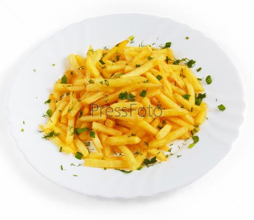 Тарелка картофеля с укропом, изолированная на белом фоне