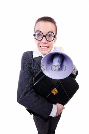 Фотография на тему Бизнес-леди с громкоговорителем на белом