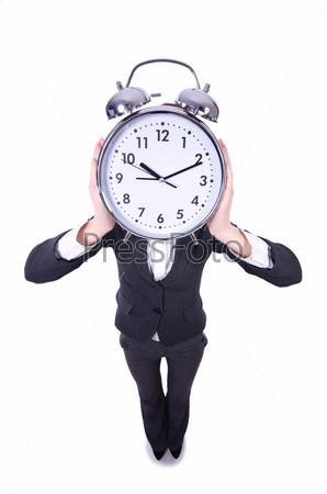 Фотография на тему Женщина с часами на белом
