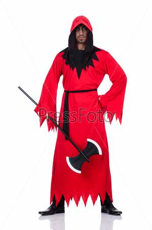 Палач в красном костюме с топором на белом
