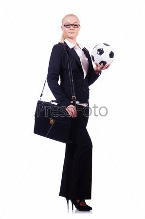 Фотография на тему Женщина с футбольным мячом на белом фоне