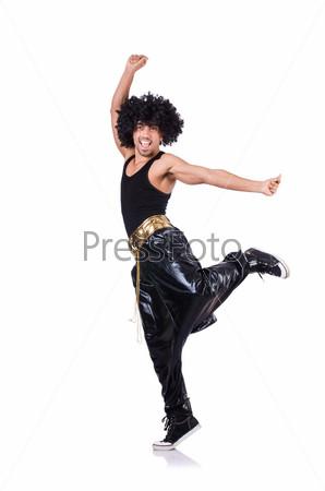Фотография на тему Рэп танцор, изолированный на белом