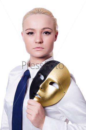 Фотография на тему Женщина с маской, концепт лицемерия