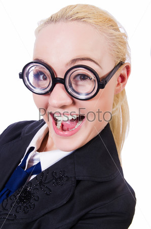 Бизнес-леди в смешных очках с толстыми стеклами