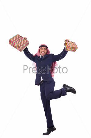 Араб с подарками на белом фоне