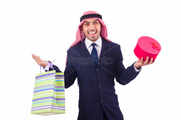 Фотография на тему Араб с подарками на белом фоне