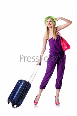 Фотография на тему Молодая женщина с чемоданом на белом фоне