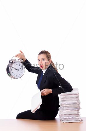 Фотография на тему Женщина-предприниматель с гигантскими часами