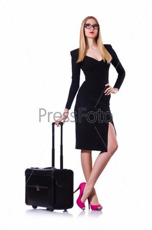 Фотография на тему Молодая женщина готова к летним каникулам на белом фоне
