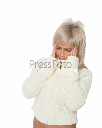Фотография на тему Женщина в белом свитере с головной болью