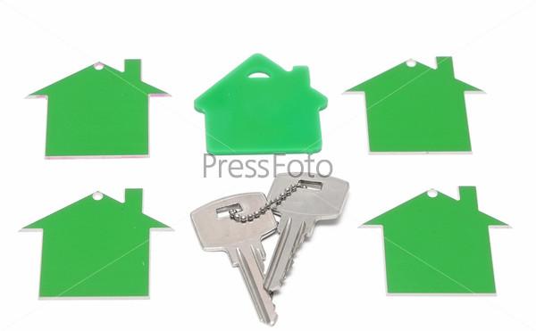 Иконки домов и ключи, изолированные на белом фоне