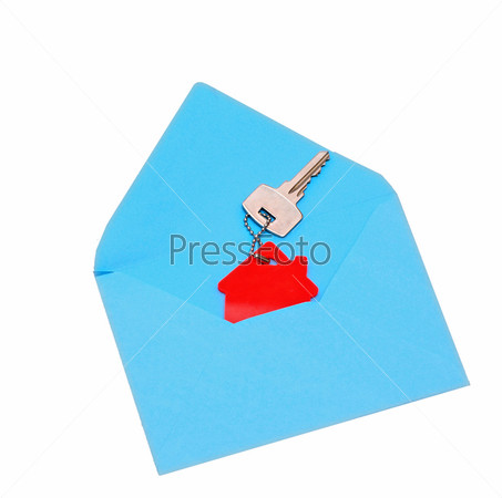 Символ дома и ключ в открытом конверте