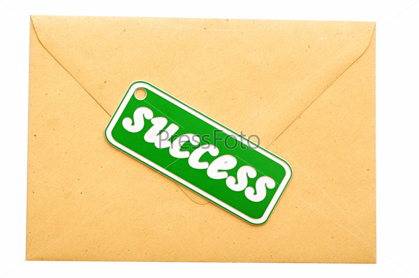Почтовый конверт с сообщением об успехе
