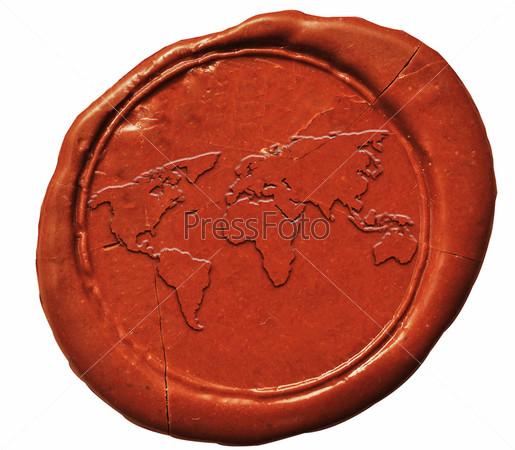 Карта мира на сургучной печати
