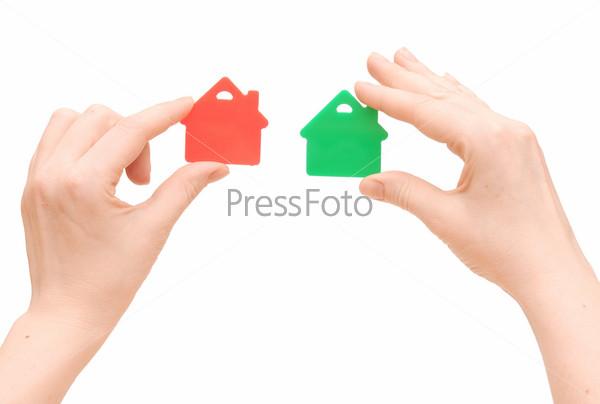 Значки дома в руках, изолированные