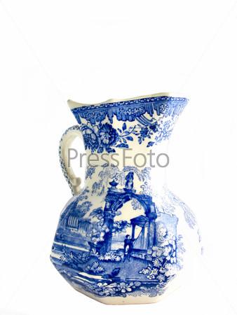 Белая старая английская ваза с голубой картиной