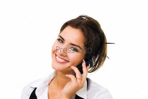 Фотография на тему Женщина, разговаривающая по телефону на белом фоне