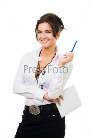 Женщина, с блокнотом и ручкой на белом фоне