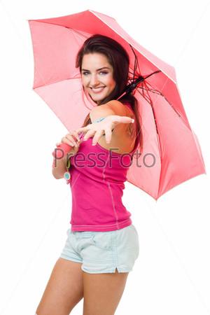 Фотография на тему Счастливая женщина с розовым зонтиком