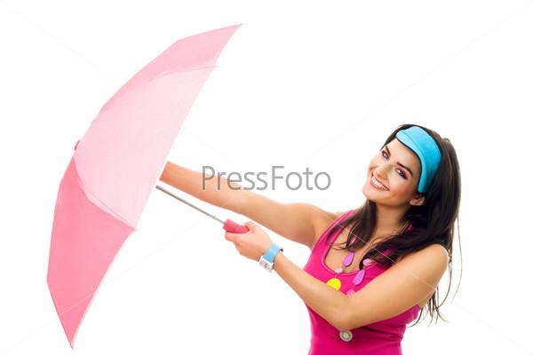 Фотография на тему Счастливая женщина, с розовым зонтиком