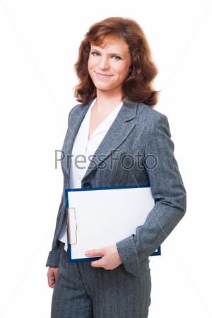 Фотография на тему Деловая женщина на белом фоне