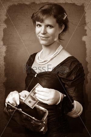Фотография на тему Женщина в белых перчатках кладет банкноту в кошелек