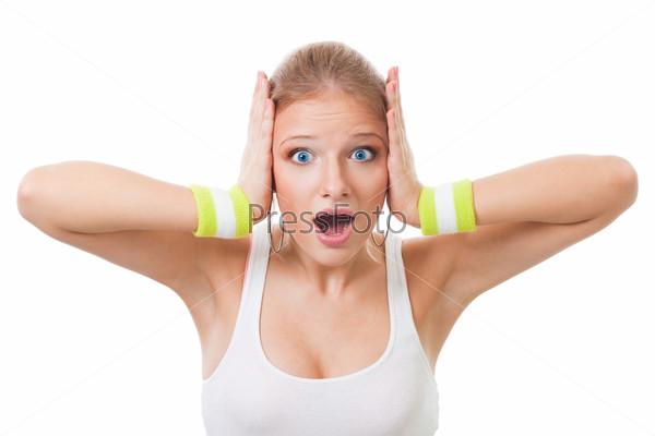 Фотография на тему Потрясенная женщина держит голову руками