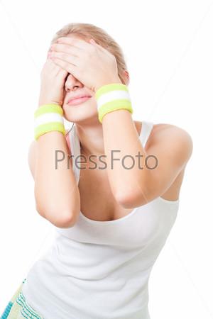 Фотография на тему Грустная женщина закрыла глаза руками