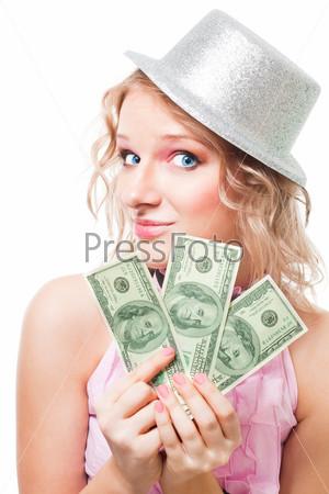 Красивая женщина с долларами