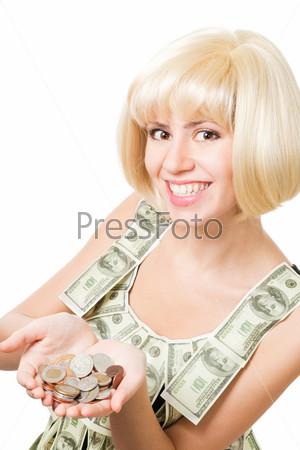 Счастливая блондинка с монетами